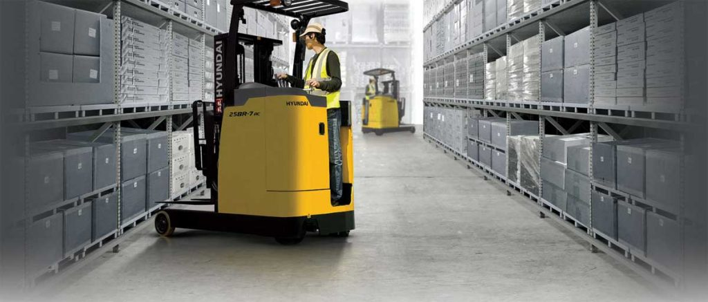 Forklift in Use at a warehouse